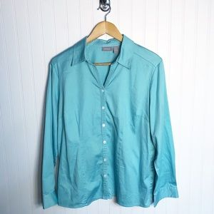 Chicos Blue Green Button Down Blouse Womens Large